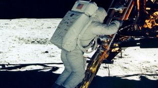 Buzz Aldrin Descends Ladder To Moon Surface