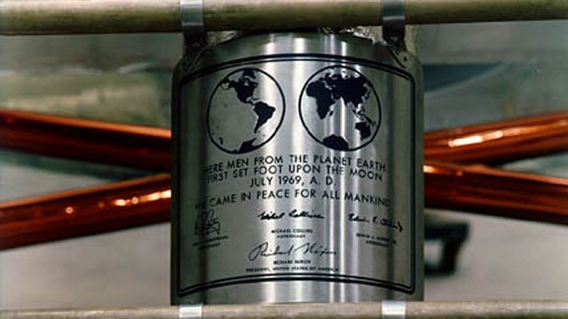 Plaque Attached To The Leg Of Apollo 11 Lunar Lander