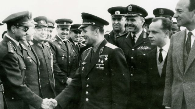 Yuri Gagarin Is Congratulated
