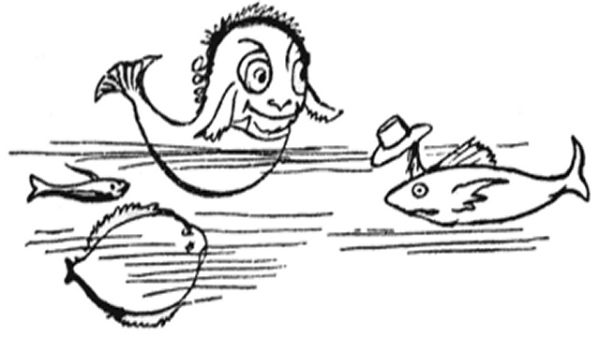 Fish doffing his hat to the sole and the sprat