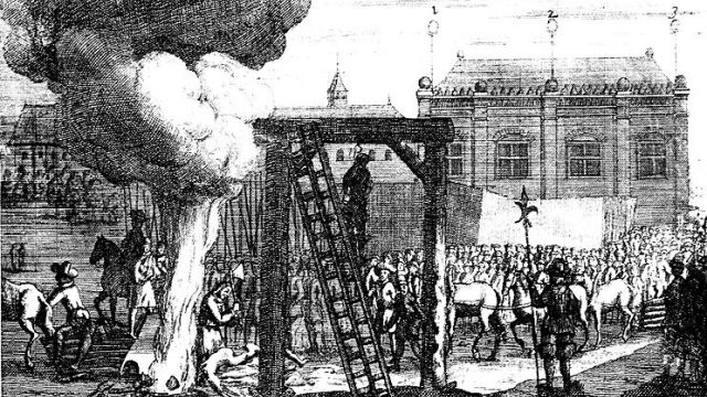 Oliver Cromwell's Body Hanging
