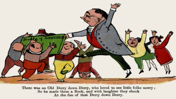 Edward Lear's illustration for his limerick: There was an Old Derry down Derry