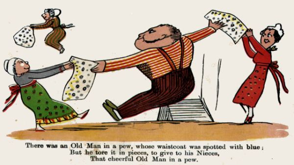 Edward Lear's illustration for his limerick: There was an Old Man in a pew