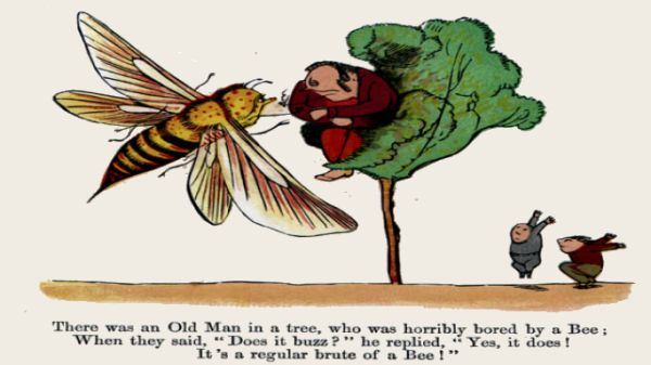 Edward Lear's illustration for his limerick: There was an Old Man in a tree