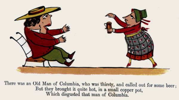 Edward Lear's illustration for his limerick: There was an Old Man of Columbia