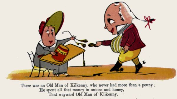 Edward Lear's illustration for his limerick: There was an Old Man of Kilkenny