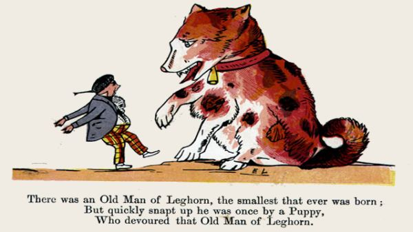 Edward Lear's illustration for his limerick: There was an Old Man of Leghorn