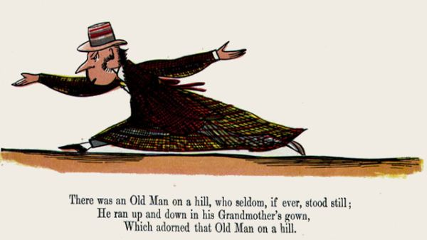 Edward Lear's illustration for his limerick: There was an Old Man on a hill