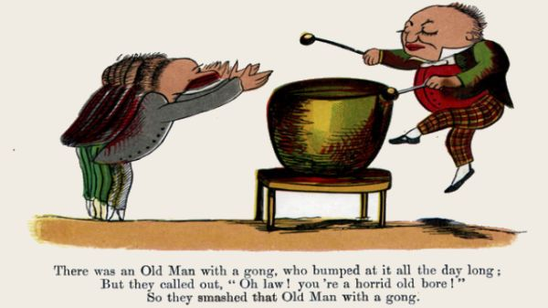 Edward Lear's illustration for his limerick: There was an Old Man with a gong