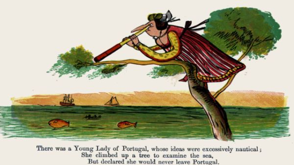 Edward Lear's illustration for his limerick: There was a Young lady of Portugal