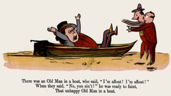 Edward Lear's illustration for his limerick: There was an Old Man in a boat