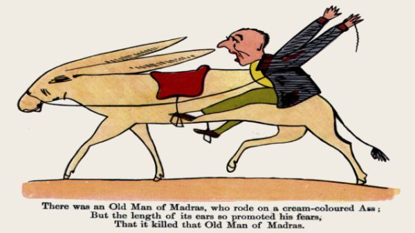 Edward Lear's illustration for his limerick: There was an Old Man of Madras