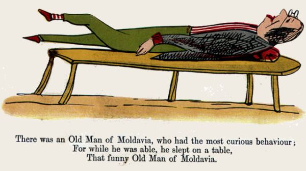 Edward Lear's illustration for his limerick: There was an Old Man of Moldavia