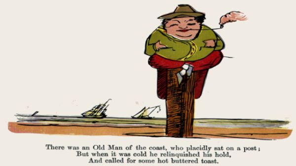 Edward Lear's illustration for his limerick: There was an Old Man of the Coast