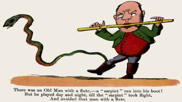 Edward Lear's illustration for his limerick: There was an Old Man with a flute