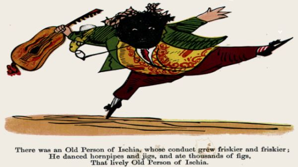 Edward Lear's illustration for his limerick: There was an Old Person of Ischia
