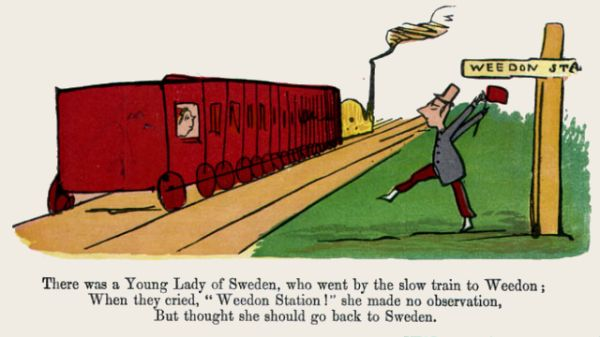 Edward Lear's illustration for his limerick: There was a Young Lady of Sweden