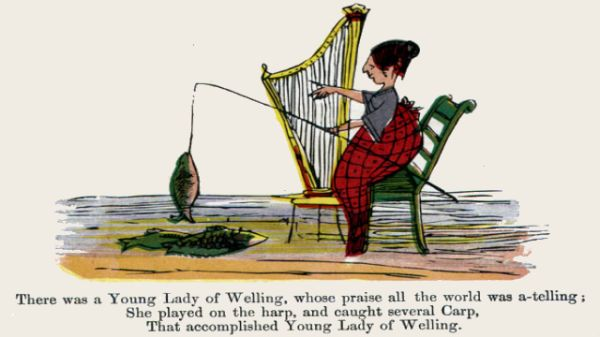 Edward Lear's illustration for his limerick: There was a Young Lady of Welling