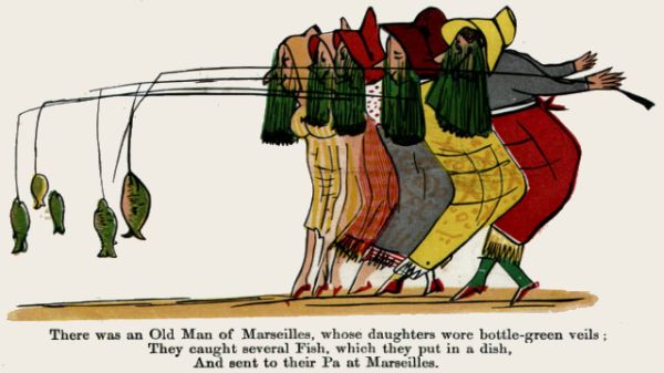 Edward Lear's illustration for his limerick: There was an Old Man of Marseilles