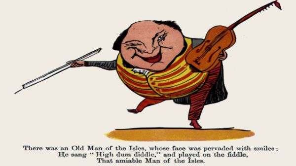 Edward Lear's illustration for his limerick: There was an Old Man of the Isles