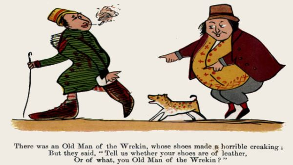 Edward Lear's illustration for his limerick: There was an Old Man of the Wrekin