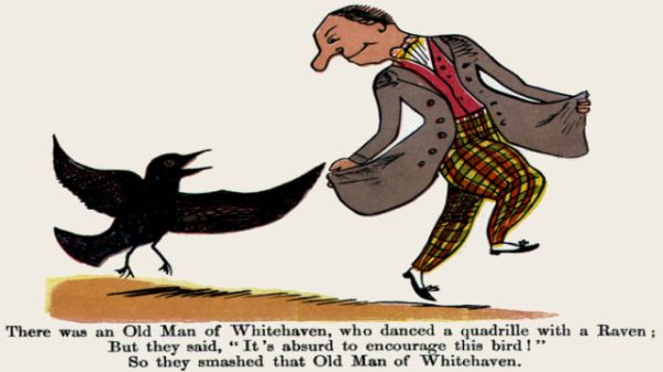 Edward Lear's illustration for his limerick: There was an Old Man of Whitehaven