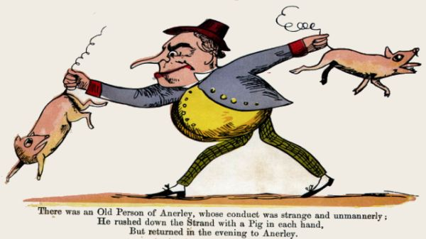 Edward Lear's illustration for his limerick: There was an Old Person of Anerley