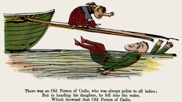 Edward Lear's illustration for his limerick: There was an Old Person of Cadiz