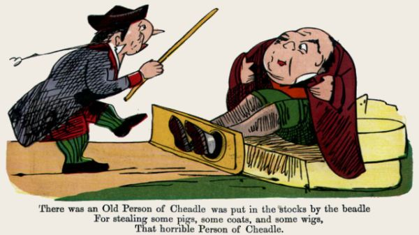Edward Lear's illustration for his limerick: There was an Old Person of Cheadle