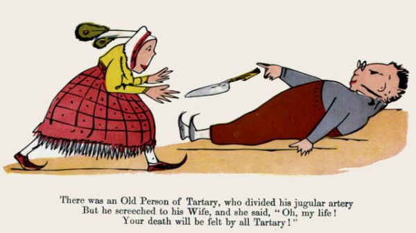Edward Lear's illustration for his limerick: There was an Old Person of Tartary