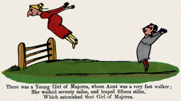 Edward Lear's illustration for his limerick: There was a Young Girl of Majorca