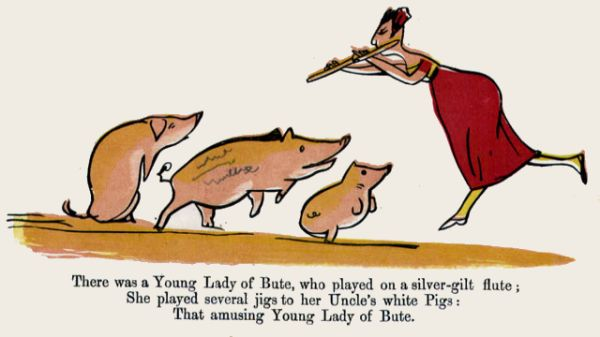 Edward Lear's illustration for his limerick: There was a Young Lady of Bute