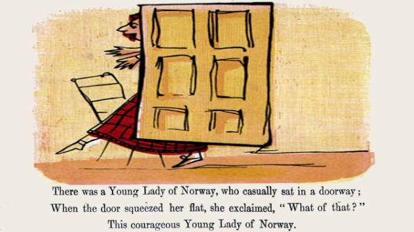 Edward Lear's illustration for his limerick: There was a Young Lady of Norway