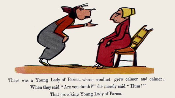 Edward Lear's illustration for his limerick: There was a Young Lady of Parma