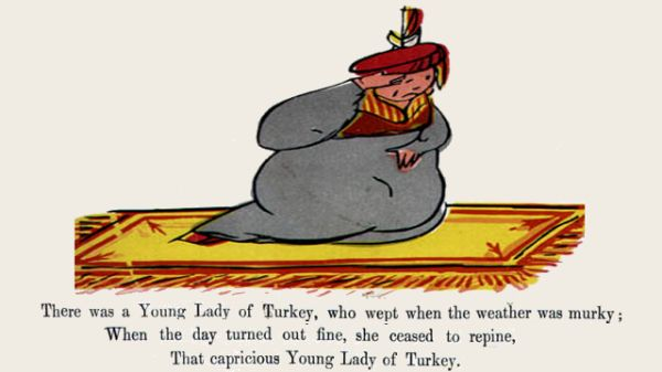 Edward Lear's illustration for his limerick: There was a Young Lady of Turkey
