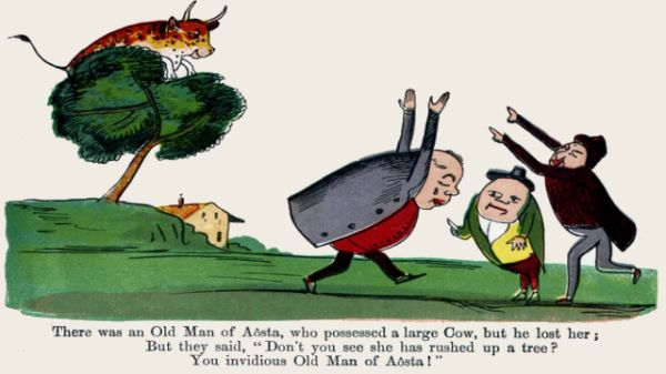 Edward Lear's illustration for his limerick: There was an Old Man of Aosta