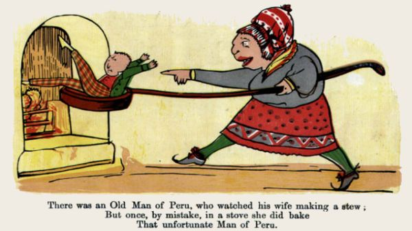 Edward Lear's illustration for his limerick: There was an Old Man of Peru