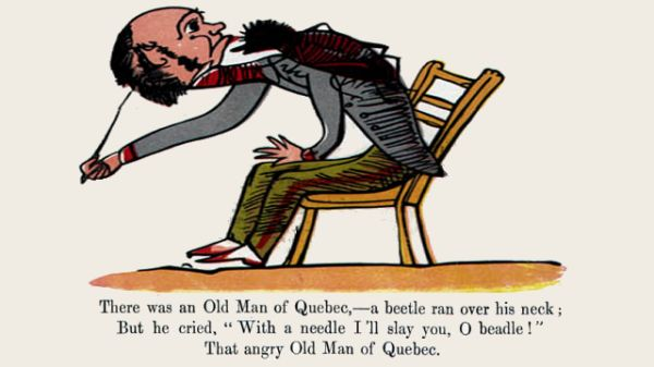 Edward Lear's illustration for his limerick: There was an Old Man of Quebec