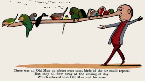 Edward Lear's illustration for his limerick: There was an Old Man, on whose nose