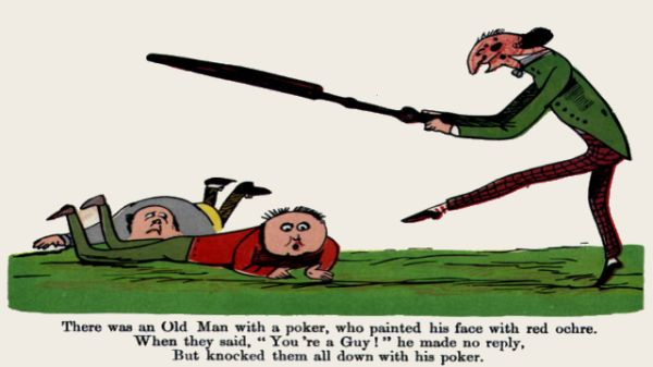 Edward Lear's illustration for his limerick: There was an Old Man with a poker