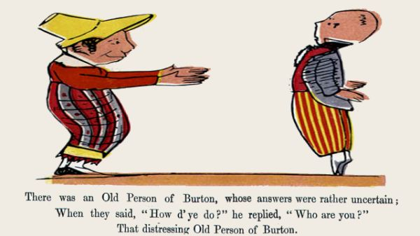 Edward Lear's illustration for his limerick: There was an old Person of Burton