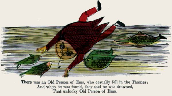Edward Lear's illustration for his limerick: There was an Old Person of Ems
