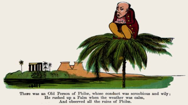 Edward Lear's illustration for his limerick: There was an Old Person of Philae
