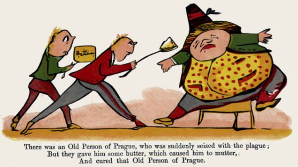 Edward Lear's illustration for his limerick: There was an Old Person of Prague