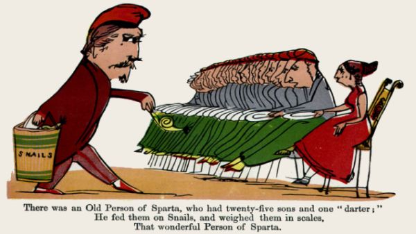 Edward Lear's illustration for his limerick: There was an Old Person of Sparta