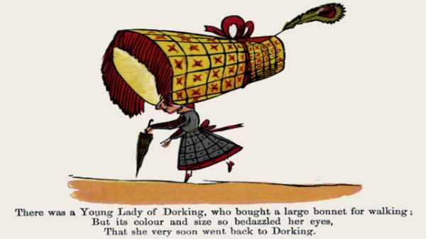 Edward Lear's illustration for his limerick: There was a young Lady of Dorking