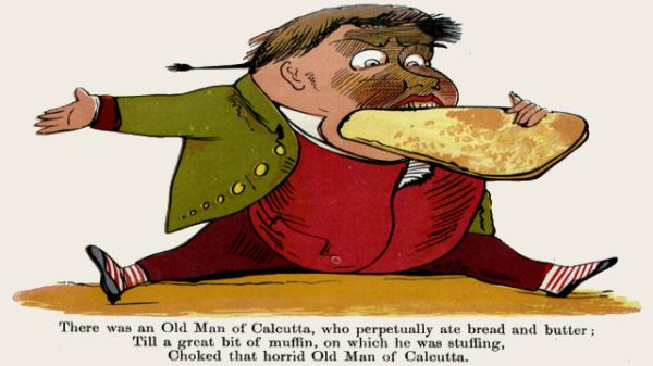 Edward Lear's illustration for his limerick: There was an Old Man of Calcutta