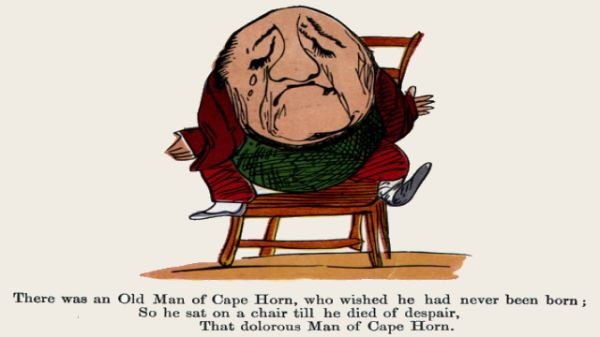 Edward Lear's illustration for his limerick: There was an Old Man of Cape Horn