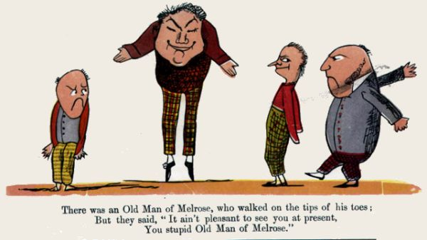Edward Lear's illustration for his limerick: There was an Old Man of Melrose