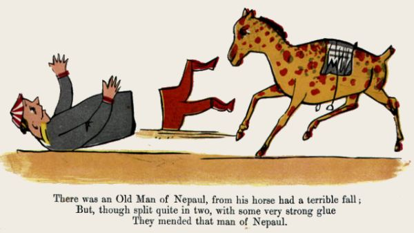 Edward Lear's illustration for his limerick: There was an Old Man of Nepaul